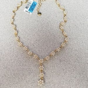 Gold-Tone Crystal & Faux Pearl Flower Y Necklace